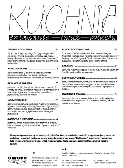 Owoce i warzywa menu Piotrkowska